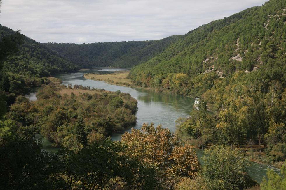 Aleppokiefern säumen den Fluss Krka im gleichnamigen Nationalpark Kroatiens.