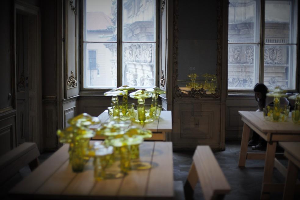 Pilze auf grünem transparentem Glas.