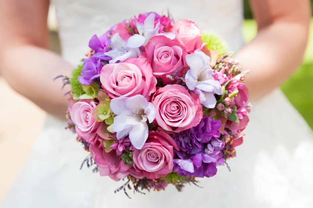 Rosa Rosen mit violetten und weißen Blüten kombiniert.